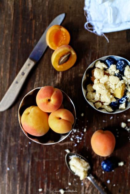 Zuckerzimtundliebe Crumble Rezept mit Kokos Aprikosen und Blaubeer Streusel