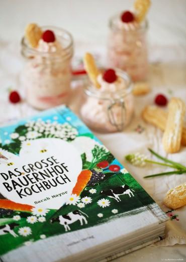 Cheesecake Dessert mit Himbeeren und Rezept für Löffelbiskuits Ich backs mir zuckerzimtundliebe foodblog Kochbuch Das grosse Bauernhof Kochbuch