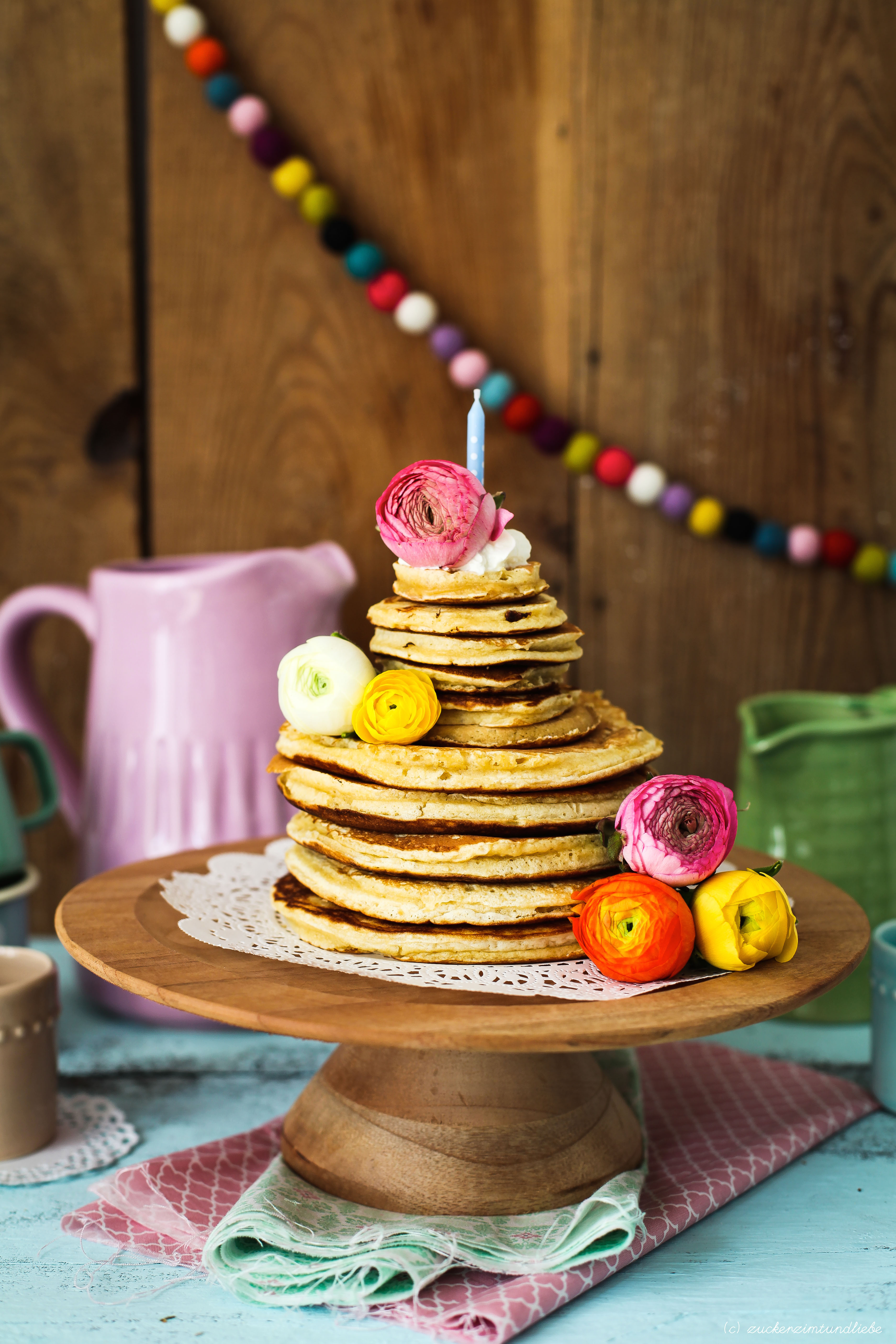 Zuckerzimtundliebe Rezept Zitronen Buttermilch Pancakes Geburtstagstorte Lecker Weltrekord-5b