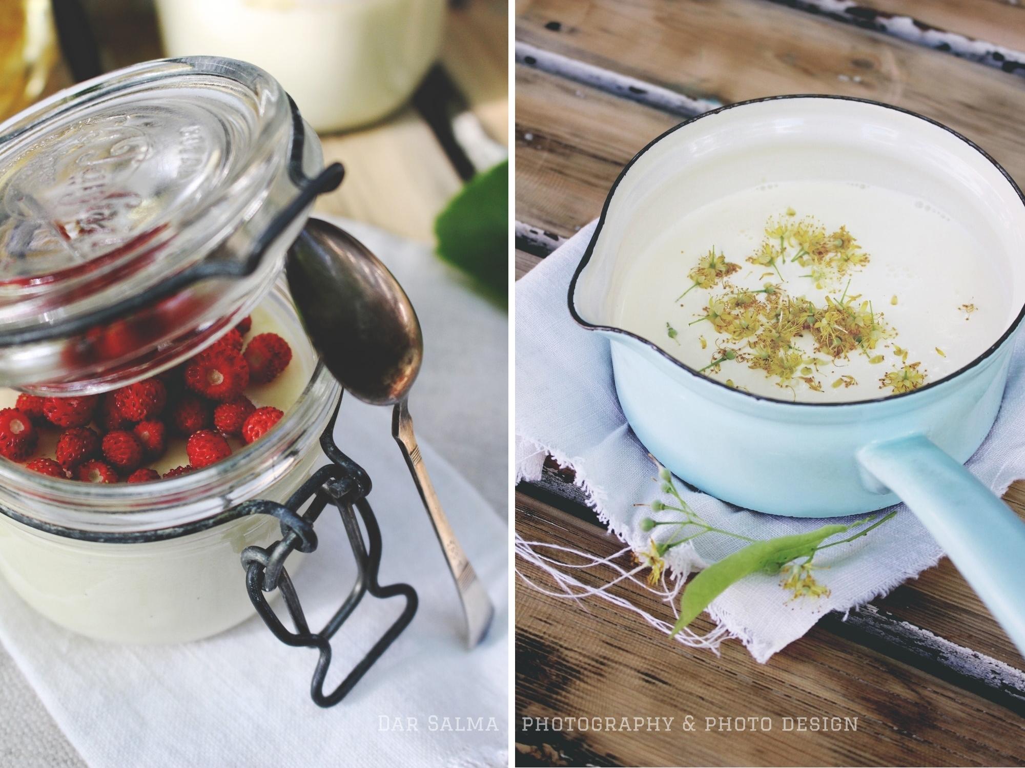Rezept für Lindenblüten Panna Cotta mit Honig Himbeeren Dar Salma Zuckerzimtundliebe Stadtimker Walderdbeeren